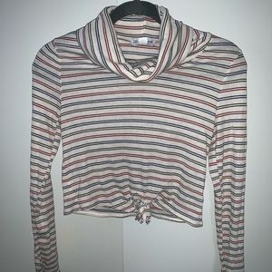 Fashionova Long striped turtle neck cropped shirt
